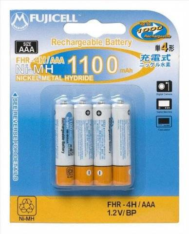 FUJICELL NiMH Rechargeable AAA 1100mAh BL2